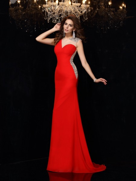 Sheath/Column Red Chiffon Sweep/Brush Train Dresses with Beading