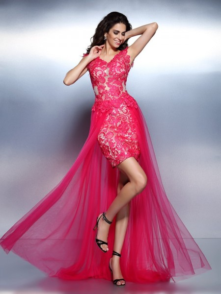 A-Line/Princess Fuchsia Lace Floor-Length Dresses with Lace