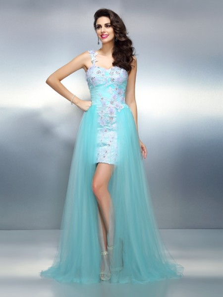 Sheath/Column Blue Elastic Woven Satin Sweep/Brush Train Dresses with Applique