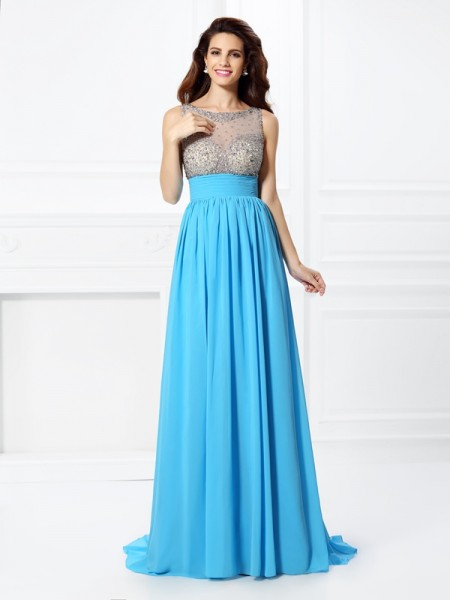 A-Line/Princess Blue Chiffon Sweep/Brush Train Dresses with Beading