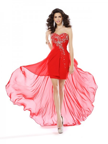 Sheath/Column Red Chiffon Short/Mini Homecoming Dresses with Beading
