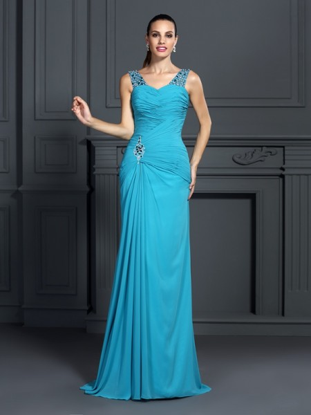 Trumpet/Mermaid Blue Chiffon Sweep/Brush Train Dresses with Ruffles