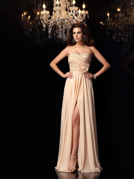 A-Line/Princess Pearl Pink Chiffon Floor-Length Dresses with Hand-Made Flower