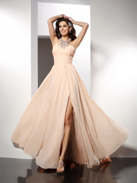 A-Line/Princess Champagne Chiffon Sweep/Brush Train Dresses with Ruffles