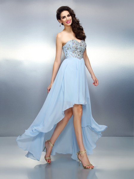 A-Line/Princess Light Sky Blue Chiffon Asymmetrical Homecoming Dresses with Ruffles
