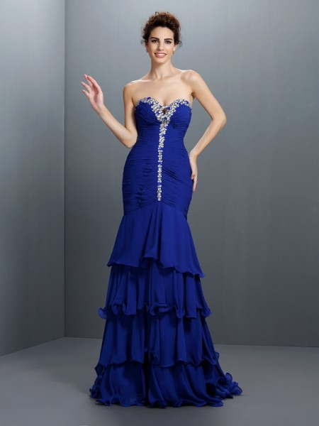 Trumpet/Mermaid Royal Blue Chiffon Sweep/Brush Train Dresses with Beading