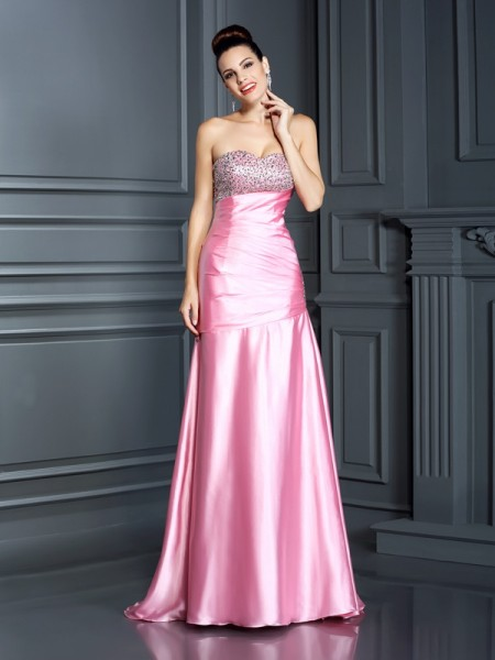 Trumpet/Mermaid Pink Elastic Woven Satin Sweep/Brush Train Dresses with Beading