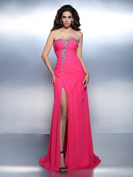 A-Line/Princess Fuchsia Chiffon Sweep/Brush Train Dresses with Beading