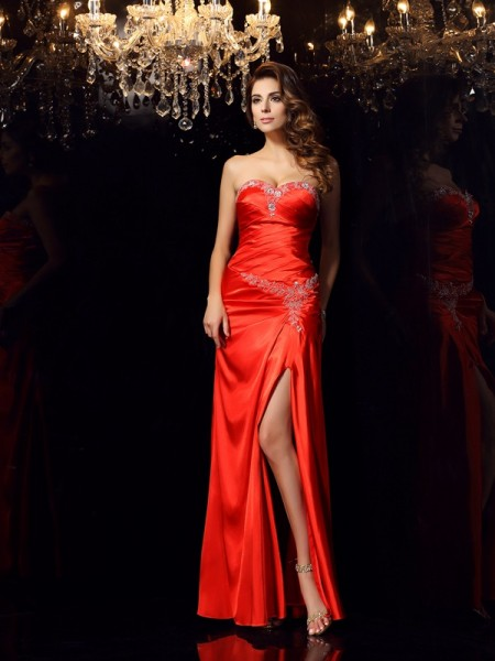 Sheath/Column Red Elastic Woven Satin Floor-Length Dresses with Beading