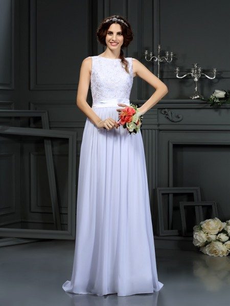 A-Line/Princess White Chiffon Floor-Length Wedding Dresses with Lace