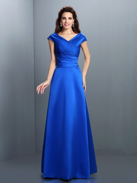 A-Line/Princess Royal Blue Satin Floor-Length Evening Dresses with Other