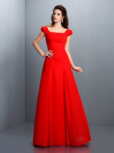 A-Line/Princess Red Satin Floor-Length Dresses with Other