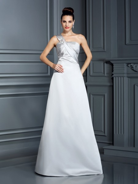 A-Line/Princess Silver Satin Floor-Length Dresses with Other