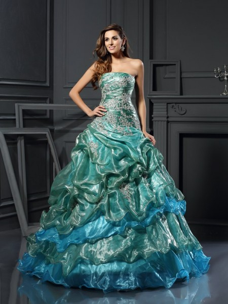Ball Gown Dark Green Tulle Floor-Length Dresses with Applique