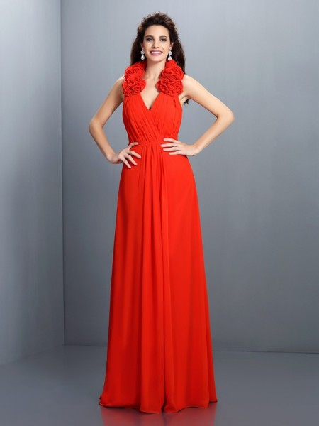 A-Line/Princess Red Chiffon Floor-Length Evening Dresses with Hand-Made Flower