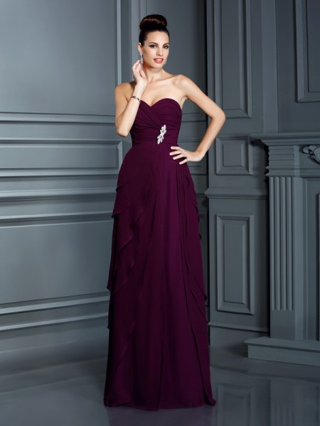 A-Line/Princess Grape Chiffon Floor-Length Dresses with Ruffles