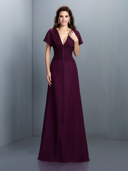 A-Line/Princess Grape Chiffon Floor-Length Evening Dresses with Ruched