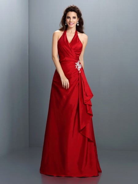 A-Line/Princess Red Taffeta Floor-Length Dresses with Beading