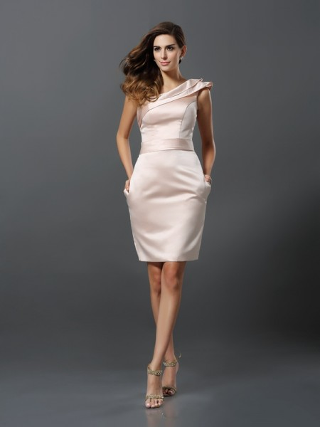 Sheath/Column Pearl Pink Satin Knee-Length Homecoming Dresses with Other