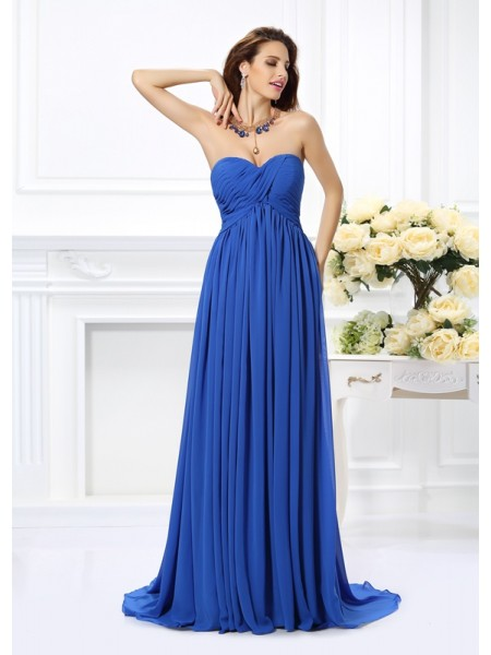 A-Line/Princess Royal Blue Chiffon Chapel Train Dresses with Ruched