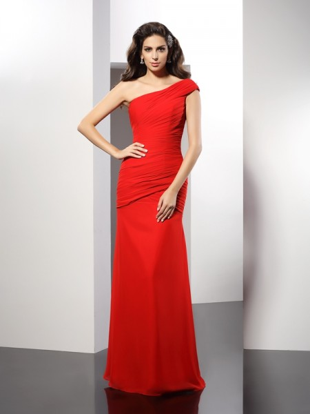 Sheath/Column Red Chiffon Floor-Length Evening Dresses with Pleats