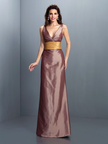 Sheath/Column Brown Taffeta Floor-Length Evening Dresses with Pleats