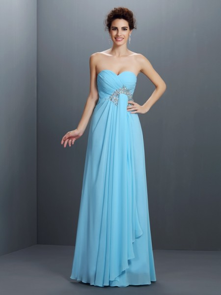 A-Line/Princess Light Sky Blue Chiffon Floor-Length Dresses with Beading