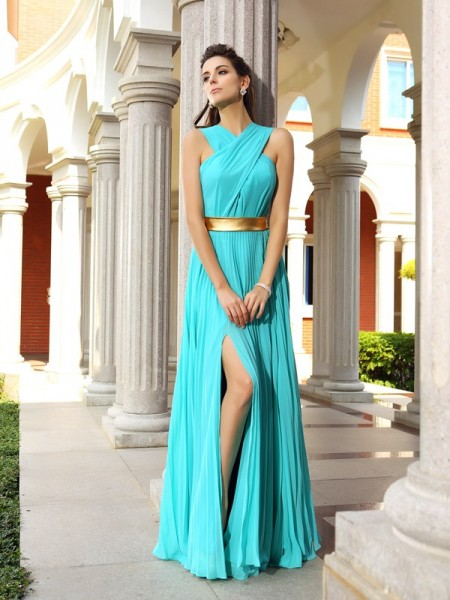 A-Line/Princess Blue Chiffon Floor-Length Dresses with Pleats