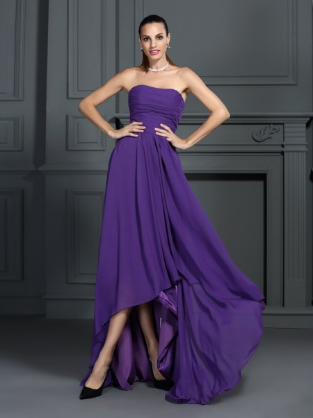 A-Line/Princess Regency Chiffon Asymmetrical Homecoming Dresses with Pleats