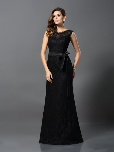 Sheath/Column Black Satin Floor-Length Dresses with Lace