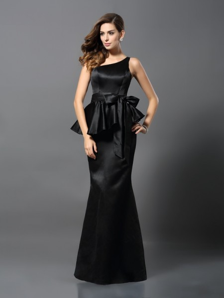 Trumpet/Mermaid Black Satin Floor-Length Evening Dresses with Bowknot