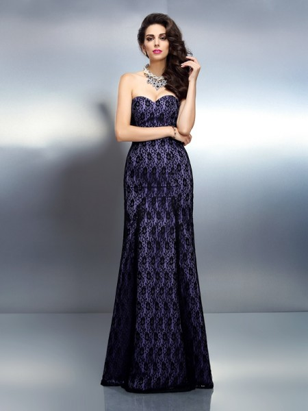Trumpet/Mermaid Grape Satin Floor-Length Dresses with Lace
