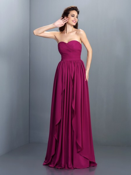 A-Line/Princess Regency Chiffon Floor-Length Dresses with Pleats