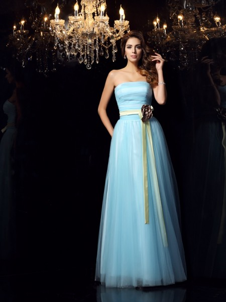 Ball Gown Blue Satin Floor-Length Dresses with Sash/Ribbon/Belt