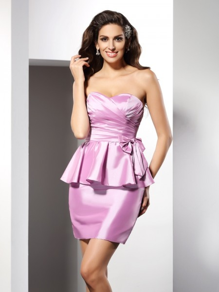 Sheath/Column Pink Taffeta Short/Mini Homecoming Dresses with Bowknot