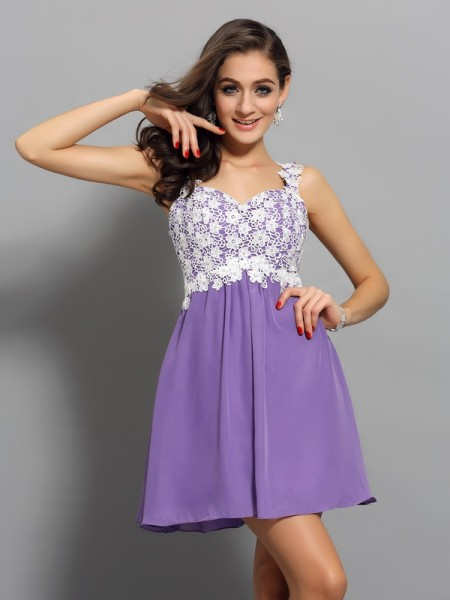 A-Line/Princess Lilac Chiffon Short/Mini Homecoming Dresses with Applique