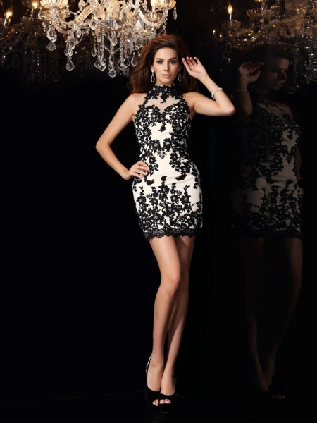 Sheath/Column Champagne Chiffon Short/Mini Homecoming Dresses with Beading