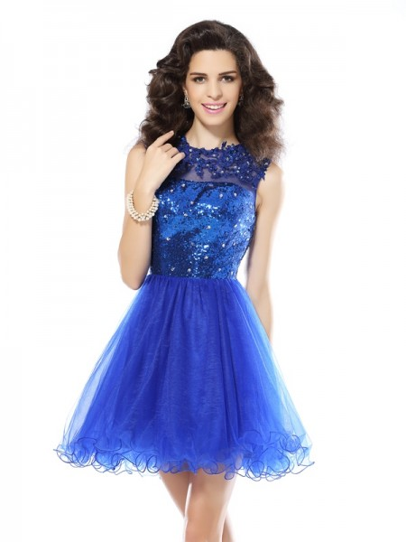 A-Line/Princess Royal Blue Net Short/Mini Homecoming Dresses with Paillette