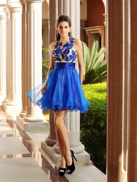 A-Line/Princess Royal Blue Organza Short/Mini Homecoming Dresses with Beading
