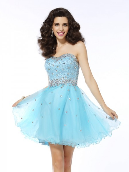 A-Line/Princess Blue Organza Short/Mini Homecoming Dresses with Ruffles