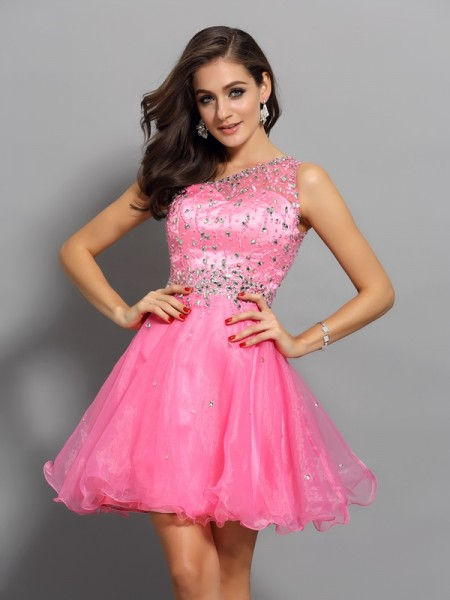 A-Line/Princess Pink Organza Short/Mini Homecoming Dresses with Ruffles