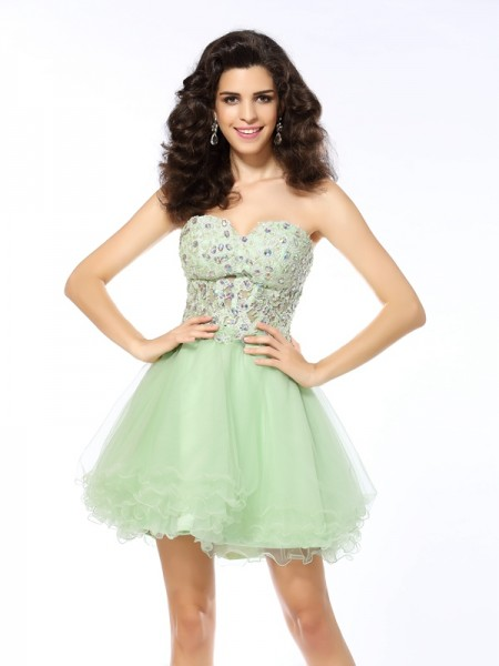 A-Line/Princess Sage Satin Short/Mini Homecoming Dresses with Ruffles