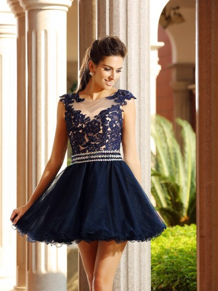 A-Line/Princess Dark Navy Tulle Short/Mini Homecoming Dresses with Applique