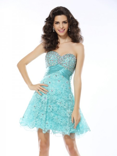 A-Line/Princess Blue Satin Short/Mini Homecoming Dresses with Ruffles