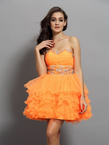 A-Line/Princess Orange Satin Short/Mini Homecoming Dresses with Ruffles