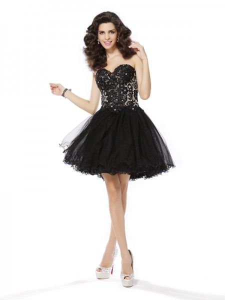 A-Line/Princess Black Net Short/Mini Homecoming Dresses with Ruffles