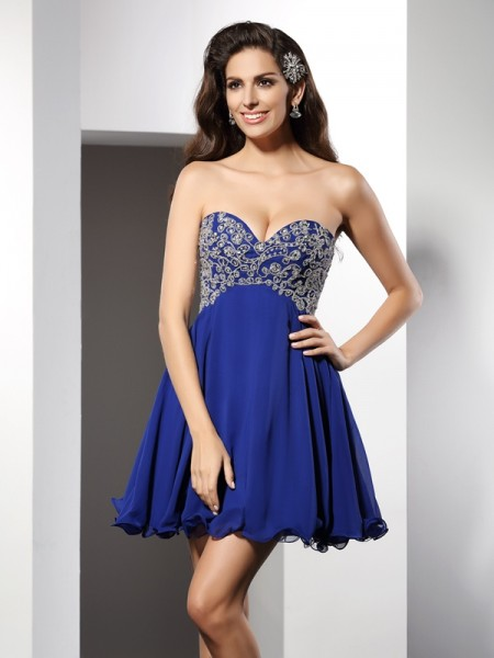 A-Line/Princess Royal Blue Chiffon Short/Mini Homecoming Dresses with Ruffles