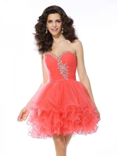 A-Line/Princess Watermelon Satin Short/Mini Homecoming Dresses with Ruffles