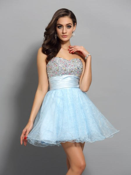 A-Line/Princess Light Sky Blue Chiffon Short/Mini Homecoming Dresses with Beading