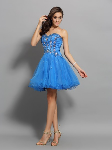 A-Line/Princess Royal Blue Satin Short/Mini Homecoming Dresses with Beading